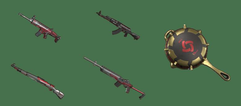 Скины для оружия PGC 2019 — SCAR-L, AKM, Kar98k, Mini14, Сковородка