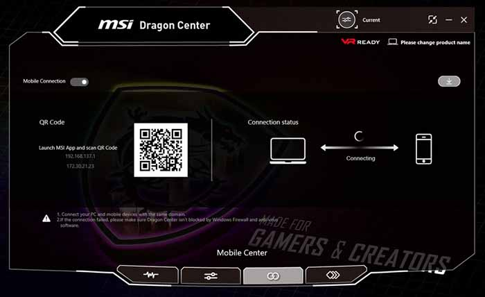 На вкладке Mobile Center можно подключить смартфон на iOS или Android через приложение MSI App 2.0