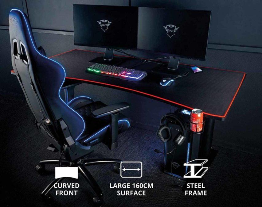Trust представляет игровой стол GXT 1190 XXL Magnicus Gaming Desk с беспроводной зарядкой